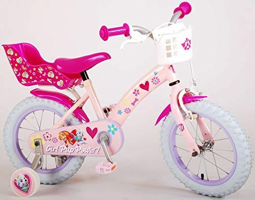 Kinderfahrrad Mädchen Paw Patrol 14 Zoll mit Vorradbremse am Lenker und Rücktrittbremse, Stützräder Korbe vorne und Puppensitz Pink 85% Zusammengebaut