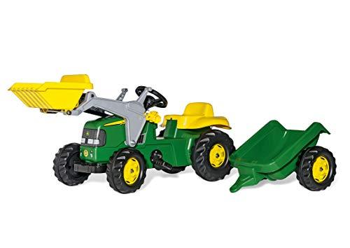 rolly toys   rollyKid John Deere   Kinder Trettraktor mit Frontlader und Anhänger   023110