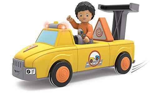 Toddys by siku 0123, Chris Carry, 3-teiliger Abschleppwagen mit Licht und Sound, Zusammensteckbar, Inkl. beweglicher Spielfigur, Hochwertiger Schwungradmotor, Gelb/Orange, Ab 18 Monaten