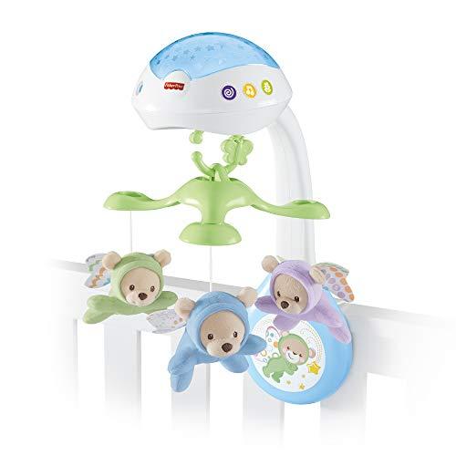 Fisher-Price CDN41 - 3 in 1 Traumbärchen Baby Mobile mit Spieluhr, Nachtlicht, White Noise und Sternenlicht Projektor, Babyausstattung ab Geburt