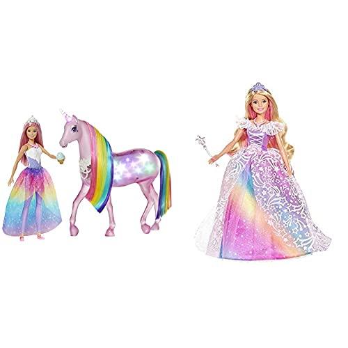 Barbie GWM78 - Dreamtopia Magisches Zauberlicht Einhorn mit Berührungsfunktion, Licht und Sound & GFR45 - Dreamtopia Ballkleid Prinzessin Puppe mit blonden Haaren, Puppen Spielzeug und Puppenzubehör