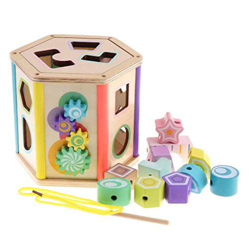 freneci Kinder Geometrische Sortierung Sortierer Würfel Holzspielzeug Baby Lernen - Hexagon