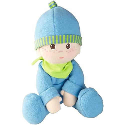 HABA HA-803 2617 - Kuschelpuppe Luis, weiche Stoffpuppe, für Babys ab 0 Jahren, mit Strampelanzug aus flauschigem Fleece, ideales Geschenk zur Geburt oder Taufe