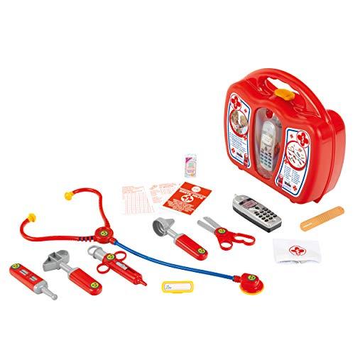 Theo Klein 4350 Arztkoffer mit Handy I Robuster Koffer mit Stethoskop, Spritze und vielem mehr I Mit batteriebetriebenem Handy mit Sound I Maße: 27 cm x 24 cm x 10 cm