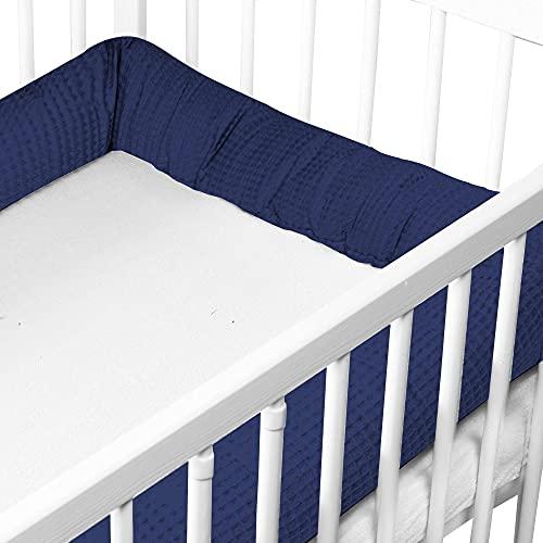 Bettschlange Baby Bettumrandung - Nestchenschlange Bettrolle für Babybett Gitterbett Beistellbett Umrandung (6. Dunkelblau, 300 cm - Waffelbaumwolle)