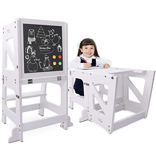 YOLEO 2 in 1 Lernturm Kinder Tritthocker Lernstuhl Kinderhocker Faltbarer Kinderschemel für Baby, mit doppelseitiger magnetischer Tafel, Rutschfestes Fußpolster, Umweltschutz, Küchen-/Badezimmerhelfer