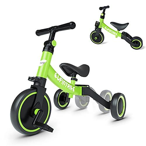 besrey 5 in 1 Laufräder Laufrad Kinderdreirad Dreirad Lauffahrrad Lauflernhilfe für Kinder ab 1 Jahre bis 4 Jahren - Grün