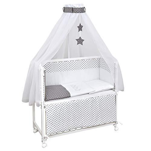 Baby Delux Beistellbett Grey Stars Stubenwagen mobil Babybett Holz weiß 90x40cm inkl. Matratze und Komplett Bettset mit Stickerei