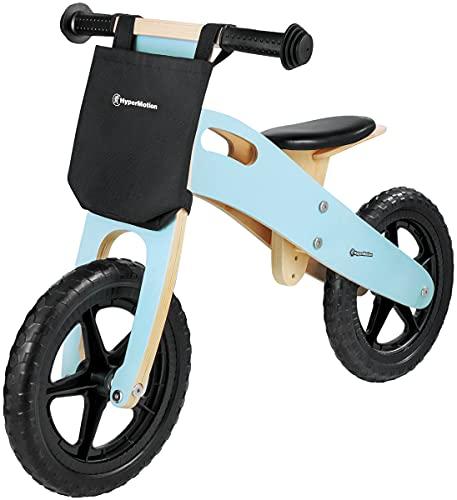 HyperMotion Laufrad Holz Lauflernrad für Kinder ab 2,5 Jahren, Holzlaufrad mit Verstellbarer Sitz, Lernlaufrad, Kinderlaufrad aus Holz, leichte 2,2 kg, Lauflernrad, 12' Räder, bis zu 35kg, Blau