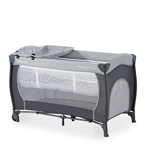 Hauck Kombi Reisebett Set Sleep N Play Center / für Babys und Kinder ab Geburt bis 15 kg / 120 x 60 cm / 2 Höhen / inkl. Wickelauflage / Trage Tasche / Schlupf / Rollen / Grau