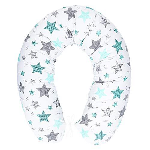 Stillkissen mit Füllung für klein Baby Lagerungskissen Baby Seitenschläferkissen Schwangerschaftskissen zum Schlafen Baumwolle inkl. Bezug Größe 170cm Pregnancy Pillow Sternschnuppe Türkis