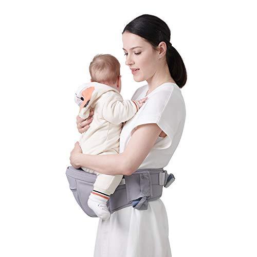 Baby Hüftsitz Ergonomische, SUNVENO Baby Hüftsitzträger, Babytrage Dekompression mit Verstellbarem Gurt und Tasche, Baby Hüfthocker Praktische Baby Vordertrage für 0-20 kg Baby, Grau
