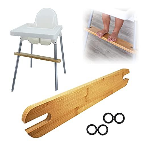 Fußstütze ,Fußstütze aus Holz für hochstuhl ,Rutschfeste natürliche Bambus-Hochstuhl-Fußstütze Verstellbare Baby-Hochstuhl-Zubehör mit Gummiringen,Kleinkinder Kinder Hochstuhl
