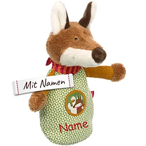 Sigikid Forest Fox Fuchs Kirschkernkissen / Wärmekissen mit Namen personalisiert in grün, Wärme-/ Kältesäckchen entnehmbar, Baby Kleinkinder Kopfschmerzen, Verspannungen, Beulen
