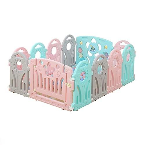 FWZJ Babylaufstall Kunststoff Babylaufstall mit bunten Paneelen, quadratischer Faltbarer tragbarer Raumteiler Kind Kinderbarriere (Größe : 118x155x60cm)
