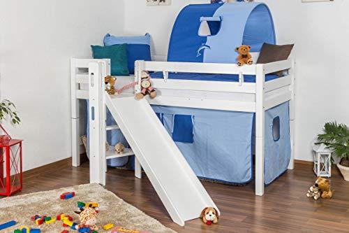 Kinderbett Hochbett Samuel Buche Vollholz massiv mit Rutsche weiß lackiert inkl. Rollrost - 90 x 200 cm
