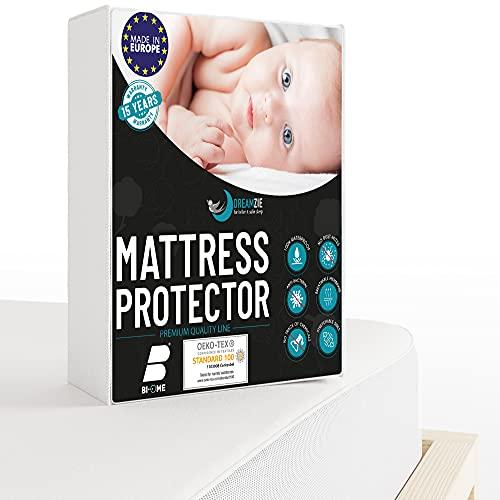 Dreamzie - Matratzenschoner 60 x 120 cm Wasserdicht für Babybetten - Atmungsaktive Matratzenauflagen 100% Baumwolle - Matratzen Topper Anti-Allergisch, Anti-Milben & Hygienischer - 15 Jahre Garantie