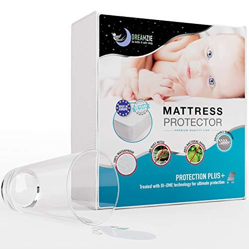 Dreamzie - Matratzenschoner 70 x 140 cm Wasserdicht für Babybetten - Atmungsaktive Matratzenauflagen 100% Baumwolle - Matratzen Topper Anti-Allergisch, Anti-Milben & Hygienischer - 15 Jahre Garantie