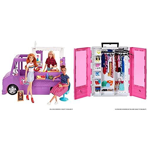 Barbie GMW07 Food Truck Fahrzeug Spielset mit 30+ Zubehörteile, Mädchen Spielzeug ab 3 Jahren & GBK11 - Tragbarer Kleiderschrank mit Kleiderbügel, Puppenzubehör und Puppen Spielzeug ab 3 Jahren