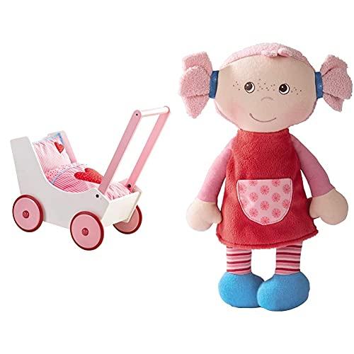 HABA 950 - Puppenwagen Herzen, niedlicher Puppenwagen mit zweifach verstellbarem Bügel, Matratze, Kissen und Decke, ab 12 Monaten & 2658 Weichpuppe Fine, ab 6 Monaten