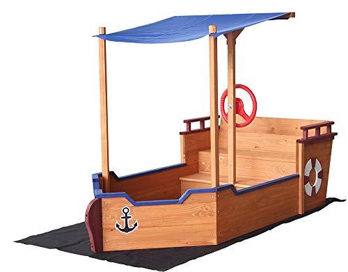 Home Deluxe - Sandkasten Matschekiste - Segelschiff inkl. Bodenplane - Maße: 160 x 78 x 103 cm - inkl. komplettem Montagematerial   Holzsandkasten Piratenboot Sandbox