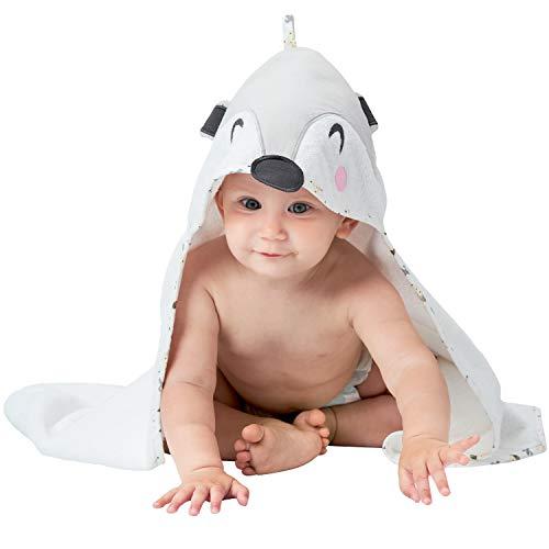 Baby Badetuch Mädchen und Junge - Kapuzenhandtuch baby - Babyhandtuch Frottee aus 100% Bio Baumwolle, OEKO TEX Zertifizierung, Ohne Chemikalien - Babyhandtuch mit kapuze 70x70 cm, 0-12 Monate - Grau