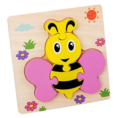 Carolui Kinder Holzpuzzle Steckpuzzle, Holzpuzzle für Kinder Holz Steckpuzzles für Kinder ab 1 2 3 Jahr Holzpuzzle Lernspielzeug Pädagogisches Kreativ Geschenk für Kinder(Bee)