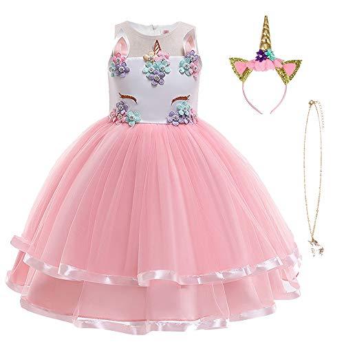 URAQT Mädchen Prinzessin Kleid, Mädchen Einhorn Cosplay Karneval Verkleidung Party Hochzeit Prinzessin Kleid mit Halskette und Stirnband, 110CM, Rosa