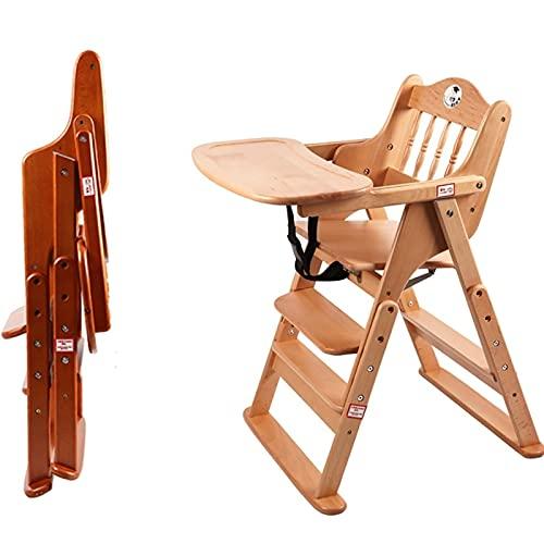 Treppenhochstuhl,hochstuhl baby mit liegefunktion,Baby Holz Hochstuhl ab Geburt inkl. Aufsatz für Neugeborene-mitwachsend,4 Stufen einstellbare Höhe, Traggewicht: 150 kg (mit Rädern) ( Color : A )