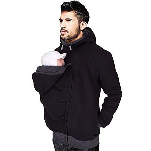 amropi Känguru Hoodie Babytrage Männer Pullover Winter Warme Babytrage Mantel mit Baby Tasche Schwarz,L