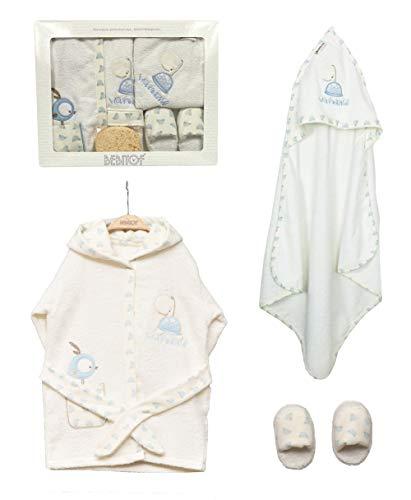 Baby Jungen Geschenke für 0-36 Monate Kapuzenhandtuch & Bademantel Set mit Schwamm & Hausschuhen, 100% Baumwolle, Blau