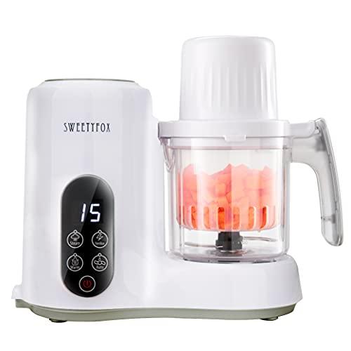 Sweety Fox - Multifunktions-Babynahrungszubereiter 6-in-1 - Dampfgarer, Mixer, Pulse, Automatische Reinigungsfunktion, Sterilisator, Aufwärmen, Auftaufunktion - Breikocher Multifunktion