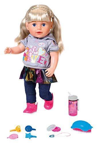 Zapf Creation 824603 BABY born Soft Touch Sister Blond Puppe mit lebensechten Funktionen und viel Zubehör, bewegliche Gelenke und weiche Soft-Touch-Oberfläche, 43 cm