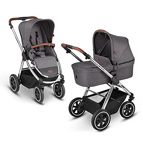 ABC Design 2in1 City-Kinderwagen Samba Diamond Edition – Kombikinderwagen für Neugeborene & Babys – Inkl. Buggy Sportsitz & Babywanne – Radfederung & höhenverstellbarer Schieber – Farbe: asphalt
