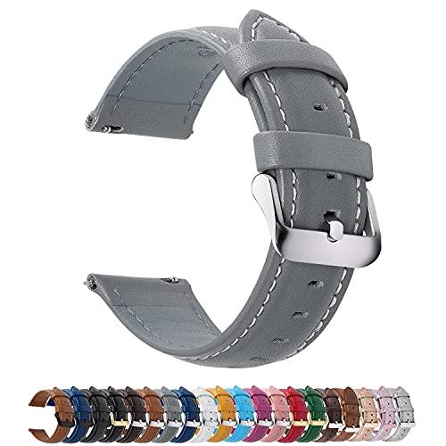 Fullmosa 12 Farben Uhrenarmband, Axus Serie Lederarmband Ersatz-Watch Armband mit Edelstahl Metall Schließe für Herren Damen 18mm Grau