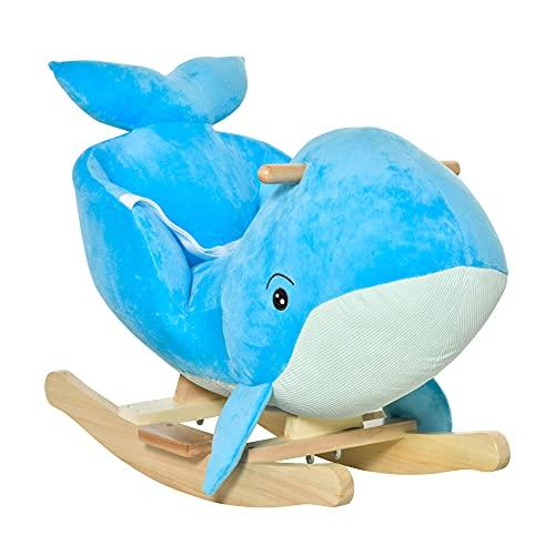 HOMCOM Schaukelpferd mit Wal-Design Sound Plüsch Schaukeltier Babyschaukel Spielzeug für 18-36 Monaten Kinder Pappelholz Blau 60 x 33 x 50 cm