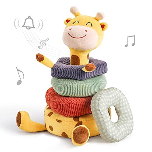 TUMAMA Baby Plüsch Rassel Spielzeug,Giraffe Sortier Stapelspielzeug,Tier weiche Rasseln Greiflinge mit Klingel,Baby Kleinkind Spielzeug Geschenk zum 3 ,6,12 Monate and 1Jahr