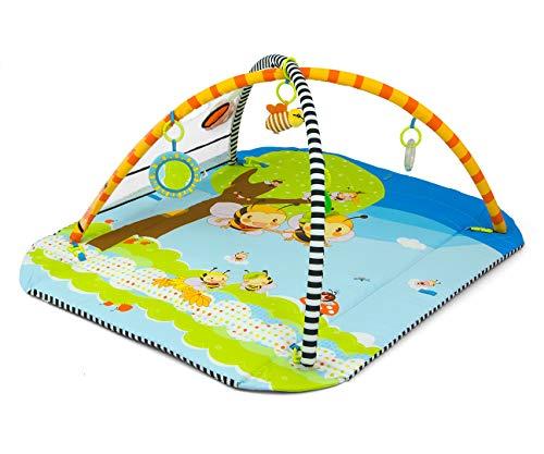 Milly Mally LOLLY Bees 5-in-1 Lernmatte für Babys, ungiftige Bodenmatte zum Spielen, Laufgitter für Kinder mit 5 Spielzeugen, Hypoallergen