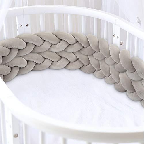 Luchild 3M Bettumrandung Babybett Bettschlange Baby Nestchen Bettumrandung Weben Geflochtene Stoßfänger Dekoration für Krippe Kinderbett Grau