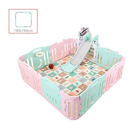 LYXCM Baby-Laufstall Faltbar, Baby-Kunststoff-Laufstall Farben Faltbar Tragbare Raumteiler Kind Kinder Barriere Erweiterbar 8 + 4 Stück
