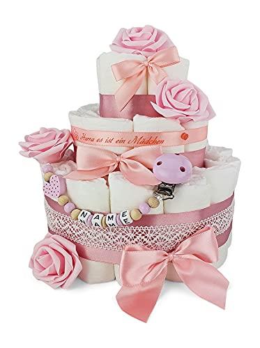 Premium Baby Windeltorte   3-stöckig mit Rosen in rosa & Schnullerkette mit Namen   perfektes Mädchen Geschenk zur Geburt, Taufe, Babyparty