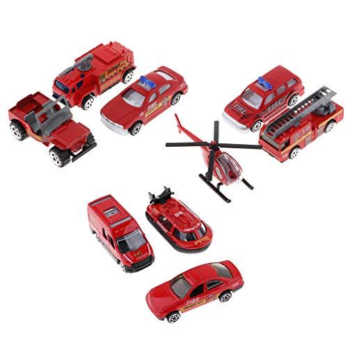 F Fityle 1:64 Feuerwehrauto LKW Yacht Hubschrauber Modell Set Spielzeug für Kinder Kleinkind Geschenk