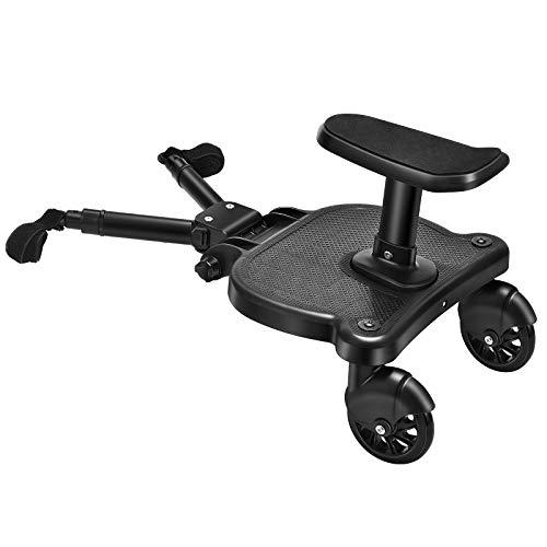 SEAAN Buggy-Board mit Sitz, Stehbrett, Kleinkind-Kinderwagen-Board, stabiles Zweirad-Design, Kinderwagen-Zubehör, mit Kinderwagensitz, universelles Stehbrett, passend für jeden Kinderwagen erhältlich