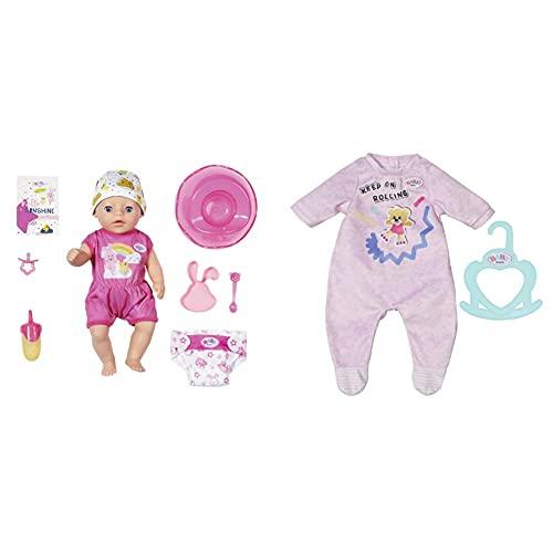 Zapf Creation 827789 BABY born Soft Touch Little Girl Puppe mit lebensechten Funktionen und Zubehör, 36 cm & Little Strampler rosa 36 cm - pastellfarbenen Puppenstrampler für 36 cm große Puppen