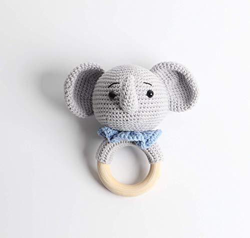 Baby Rassel in Blau - 100% Handarbeit mit Anti-Pilling Garn - Beißring für Babys - Rassel mit Tierdesign als gestrickten Elefanten