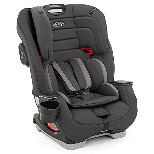 Graco Avolve Kindersitz Gruppe 1/2/3 mit Isofix, Autositz ab ca. 9 Monaten bis 12 Jahre (9 bis 36 kg), 5-Punkt-Gurt, Charcoal, grau