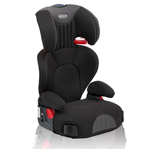 Graco Logico L, Kindersitz 15-36 kg, Auto Kindersitz Gruppe 2/3, ab 4 bis 12 Jahre, höhenverstellbare Armlehnen, waschbare Sitzbezüge, Installation mit Fahrzeuggurt, Kindersitz, black