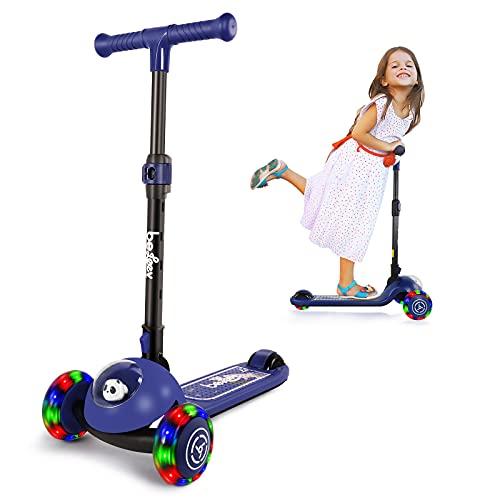 BELEEV Roller Kinder 3 Räder Scooter für Mädchen & Jungen, Kinderroller mit Led Licht Räder, Lean-to-Steer, Klappbar Kleinkinder Kinderscooter ab 3-8 Jahre (Blau)