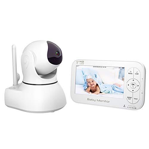 Babyphone mit Kamera Video Baby Monitor 5' Großer LCD Bildschirm & Ferngesteuert drehbare Überwachungskamera, Schlafmodus, Nachtsicht Temperatursensor, Schlaflieder Gegensprech (5.0 Zoll LCD Display)