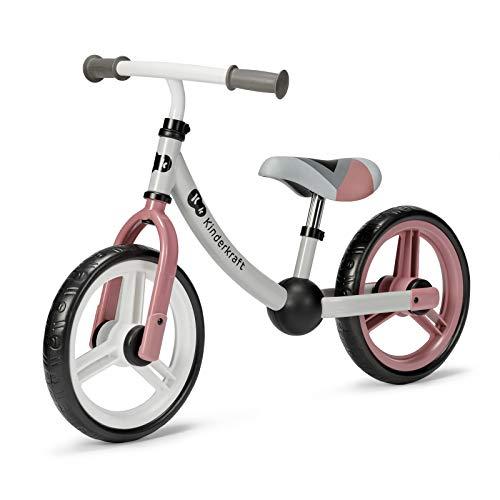Kinderkraft Laufrad 2WAY NEXT, Lernlaufrad, Kinderlaufrad, Höhenverstellbarer Sattel und Lenker, 12 Zoll Räder, Metall, ab 2 Jahre, Modernes Design, Rosa